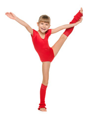 Little cheerful gymnast