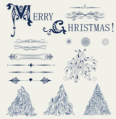 Set of element design for new year card vector