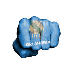 United states, fist with the flag of Oklahoma