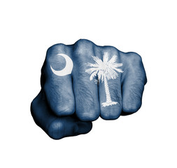 United states, fist with the flag of South Carolina