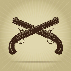 Vintage Crossed Percussion Pistols Silhouette