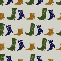 Seamless pattern with colored boots