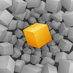Orangener 3D-Würfel