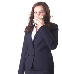 Business woman holding a glass of water