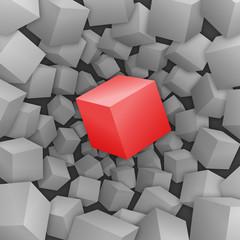 Roter 3D-Würfel