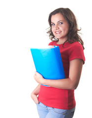 Attractive smiling girl in red shirt holding a blue folder.