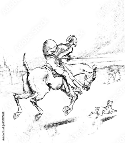 Don Quichotte riding Rossinante