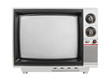 Grungy vintage portable television isolated with turned off scre