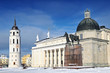 Vilnius cathedral and belfry in winter