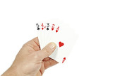 Poker player holding straight