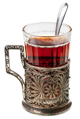 black tea in retro glass