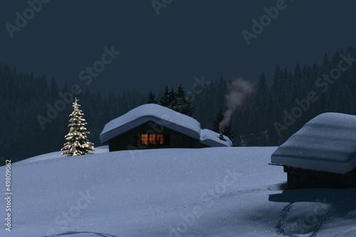 Berghütte im Winter