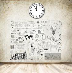Wand mit gezeichneten Lösungen - Ideen - Technisch