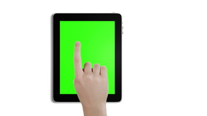 Touch gestures in front of a green screen on tablet device.