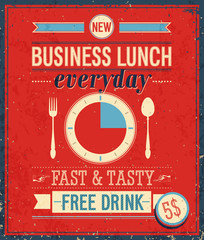Vintage Bussiness Lunch Poster. Vector illustration.