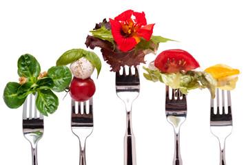 Salate auf einer Gabel