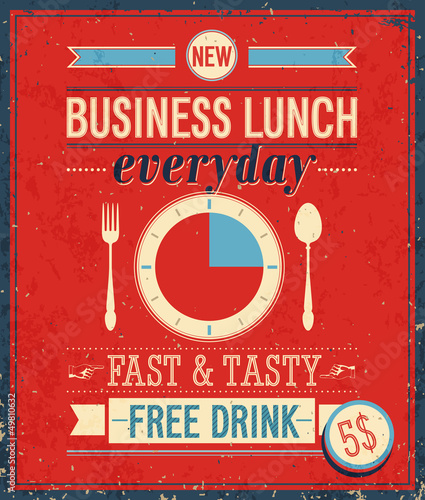 Tuinposter Vintage Poster Vintage Bussiness Lunch Poster. Vector illustration.