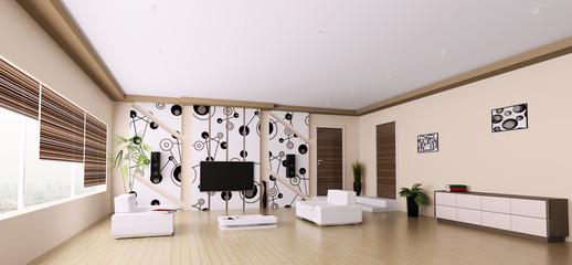 Wohnzimmer Interior Panorama 3d