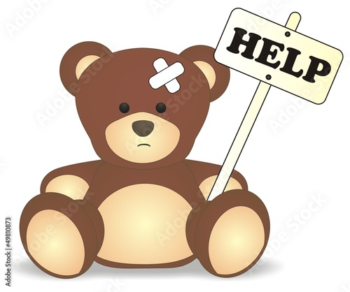 help bear - small patient (sad abused)