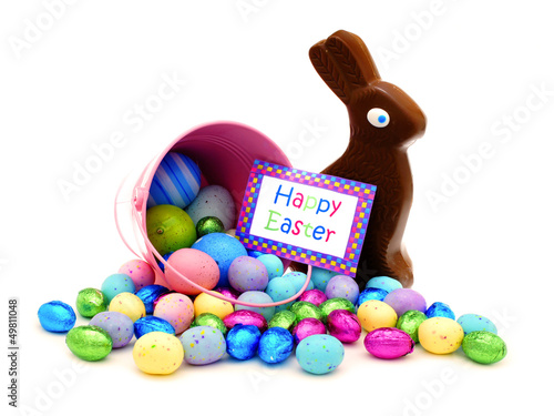 Happy Easter card and pink pail spilling candy