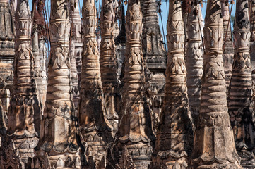 Stupa spires in the Kakku Pagoda Complex in Myanmar