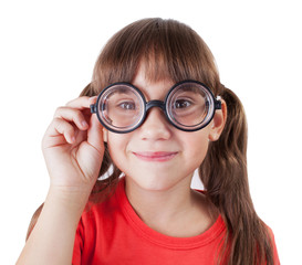 Funny girl with round glasses