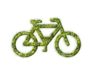 ecology bike from grass on white background