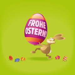 Osterhase rennt mit Ei und Schrift Frohe Ostern