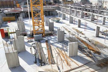 Fondations d'un immeuble en construction