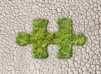 Puzzles from grass on cracked earth background