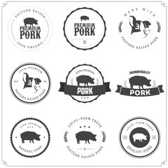 Set of premium pork meat labels