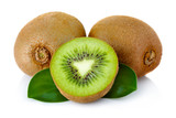 Fresh kiwi fruit with green leaves isolated on white