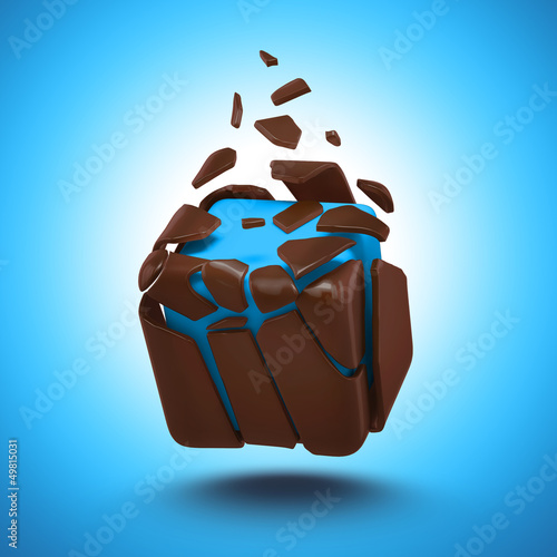 abstract broken chocolate candy cube isolated object