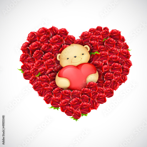 Teddy Bear Couple with Heart Balloon