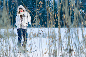 Woman and snowshoes