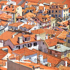 Roofs and white houses view in Alfama district, Lisbon. Portugal