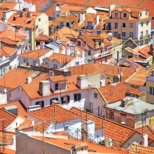 Roofs and white houses view in Alfama district, Lisbon. Portugal - 49816420