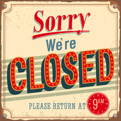Vintage card - Sorry we're closed