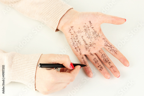 Write cheat sheet on hand isolated on white