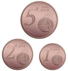 Vector set of small euro cent coins