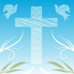 sfondo decorazione croce e colombe