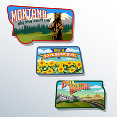 Montana, North Dakota, South Dakota retro illustrations