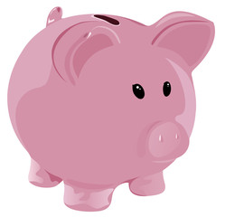 Pink piggy-bank isolated on white
