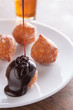 Fritter puff with chocolate sauce