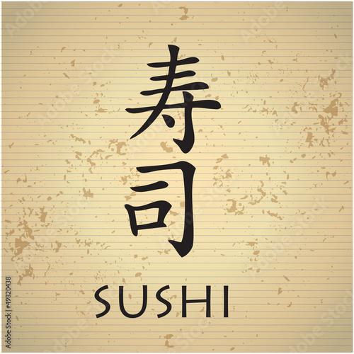 Fototapeta Sushi bar menu z japońskich znaków
