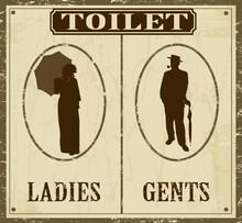 Toilettes affiche de style ancien