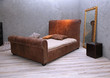 Leather vintage bed