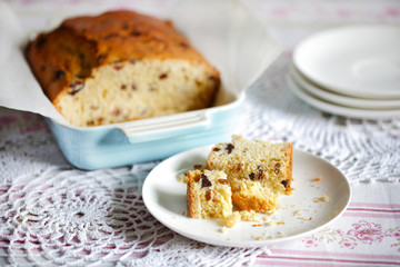 Teatime sweet bread or pound cake with dried fruit, crumbled