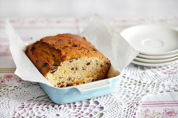 Sponge cake or sweet bread with chocolate and cranberries