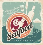 Fototapety Vintage poster for seafood restaurant